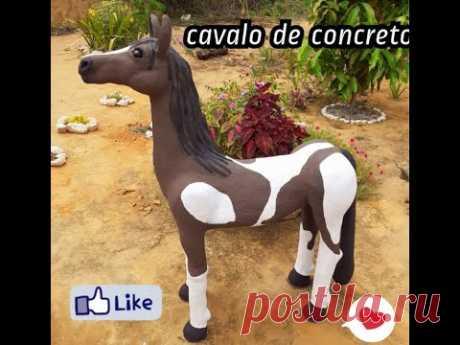 DIY- Cavalo feito com concreto para decoração de Jardim