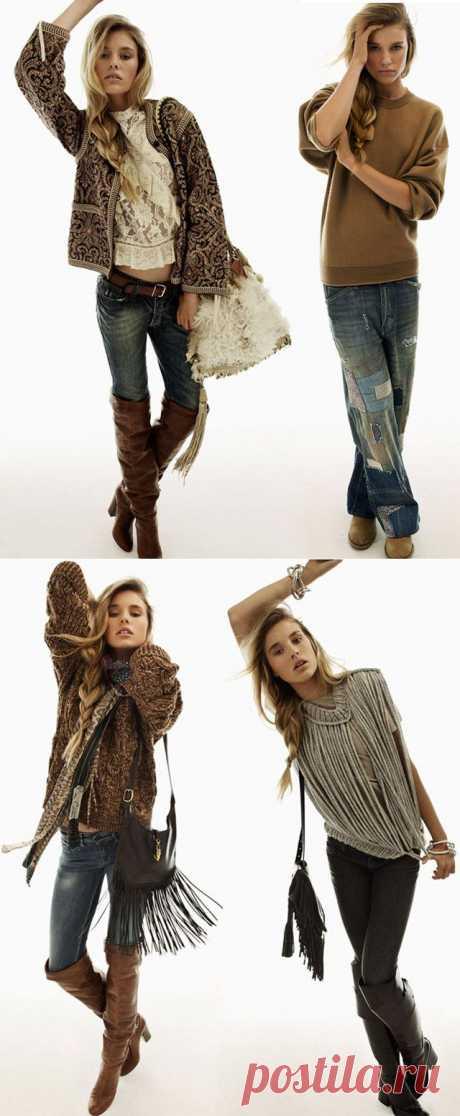 джинсы с заплатками и свитер из шнуров (Екатерина Ш) / Лукбуки / ВТОРАЯ УЛИЦА