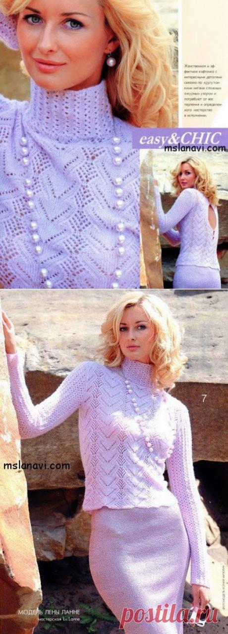 Ажурный пуловер спицами Лены Ланне - Вяжем с Лана Ви