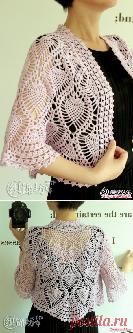 Elegant jacket bolero with the round coquette. Hook. - KNITTED FASHION + FOR NOT MODEL LADIES - the Country of Mothers