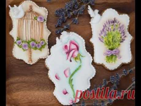 Beautiful Royal Icing Floral Cookies with a Vintage Background 🌹🌸⚜️