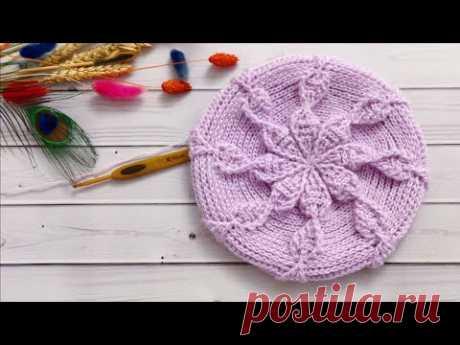 Берет теплый крючком рельефными столбиками//На любой размер//Crochet beret