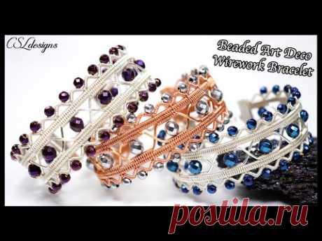 Beaded art deco wirework bracelet