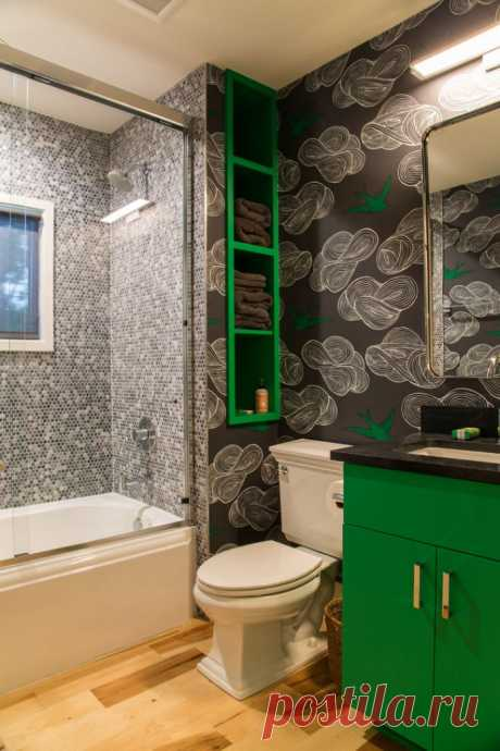 Wall-paper for a bathroom: pluses and minuses, types, design