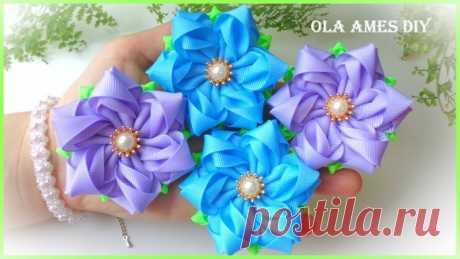 Цветы из репсовых лентa / МК канала Ola ameS DIY