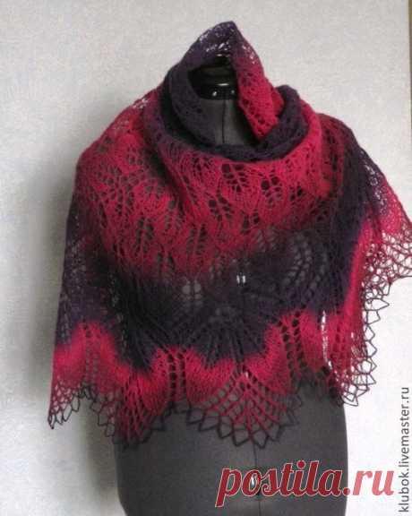 """Купить шаль """" Ночная Фуксия"""" - тёмно-фиолетовый, ажурная шаль, шаль вязаная"""
