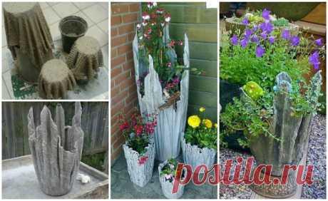 ОТЛИЧНАЯ ИДЕЯ ДЛЯ ДАЧИ! Такой цементный вазон станет оригинальным местом обитания Ваших любимых цветов! Сохрани шпаргалку, поделись с ней!