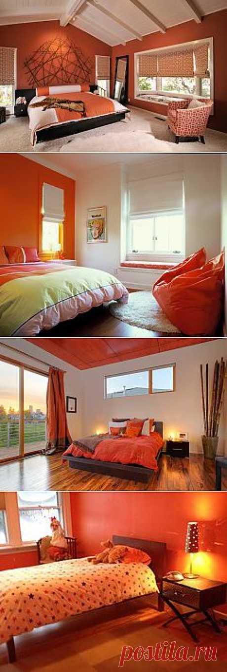 оранжевые спальни