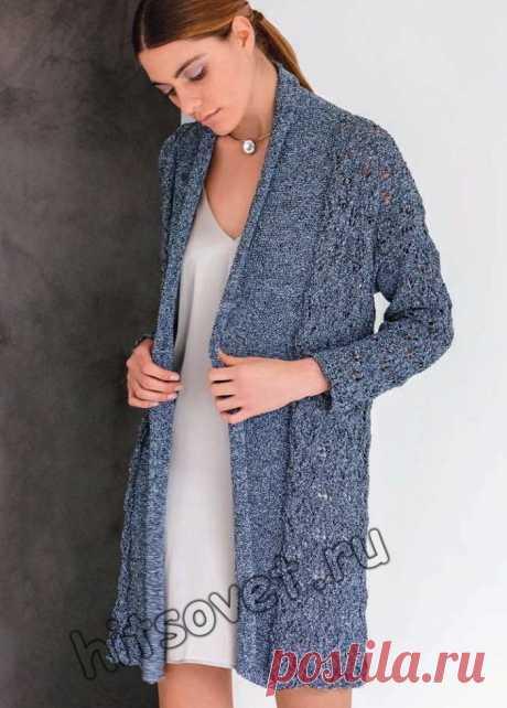 Ажурный вязаный кардиган - Хитсовет Вязание бесплатно для женщин ажурного вязаного спицами и крючком кардигана с поясом со схемой и пошаговым описанием.