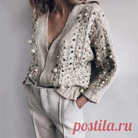 Дизайнерский кардиган с бисером, женский свитер, зима осень 2020, модный бренд, большие размеры, вязаные свитера, женская верхняя одежда, повседневные топы      АлиЭкспресс