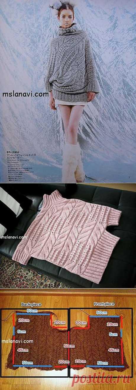 Оригинальный пуловер спицами | Вяжем с Ланой