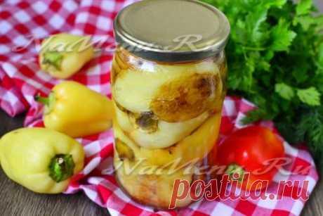 Жареный болгарский перец с чесноком на зиму