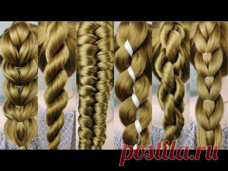 9 simple braids from only 2 strands. Very easy! 1 minute braids.