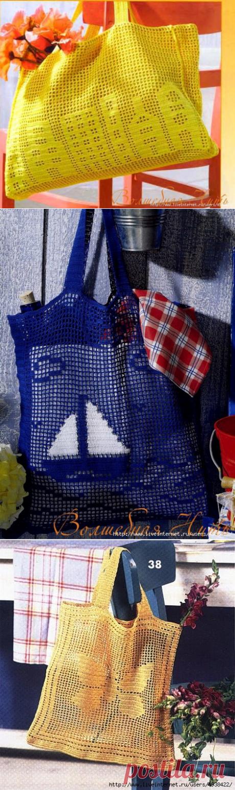 Летние сумочки в технике филейного вязания
