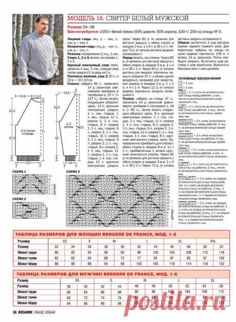 МК по вязанию спицами белого мужского свитера с горлом с подробным описанием и схемой