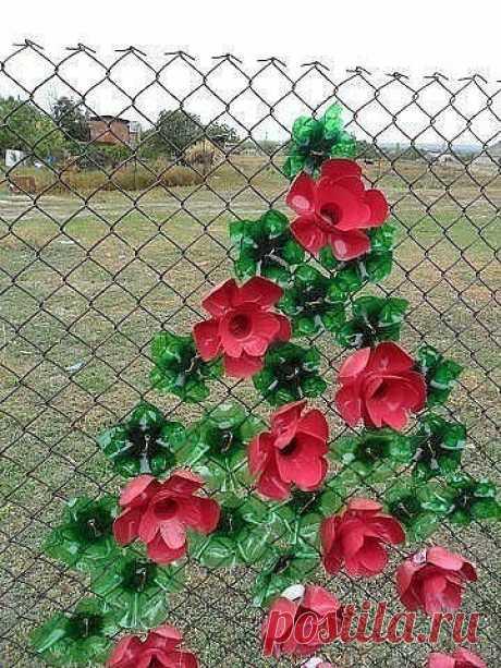 Поделки для дачи. Цветы из пластиковых бутылок.