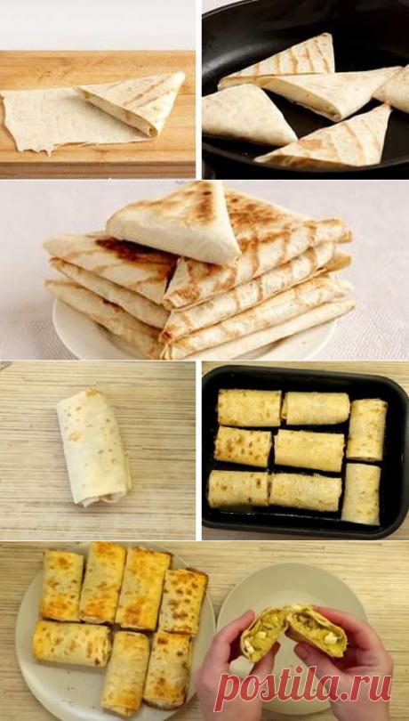 Конвертики из лаваша с разными начинками: лучшие рецепты с фото