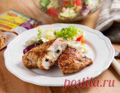 La pechuga de pollo rellenado motsarelloy y las alcaparras - la receta de la preparación de la foto de Maggi.ru