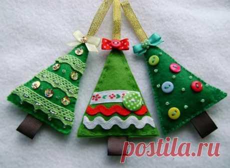 Новогодние игрушки из фетра на елку своими руками, выкройки и схемы