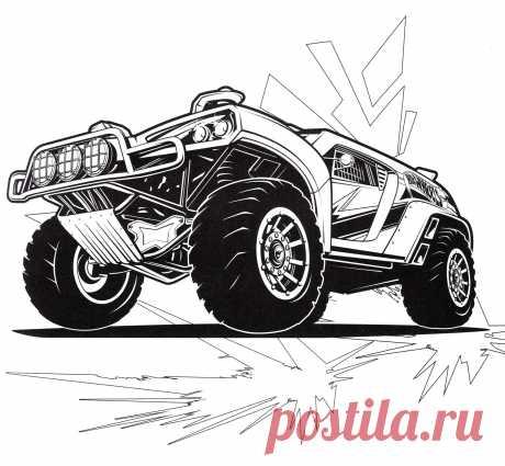 Раскраска Джип Хот Вилс - распечатать бесплатно