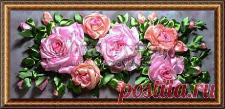 Вышивка лентами картина из роз. Розовые сны. Мастер класс с фото