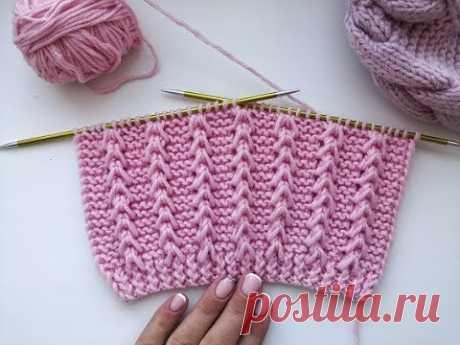 Красивый и простой рельефный узор спицами для вязания джемпера, свитера, кардигана