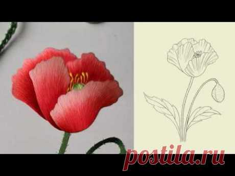 Hand embroidery苏绣(苏州刺绣针法教程) 刺繍 单面绣虞美人花朵04