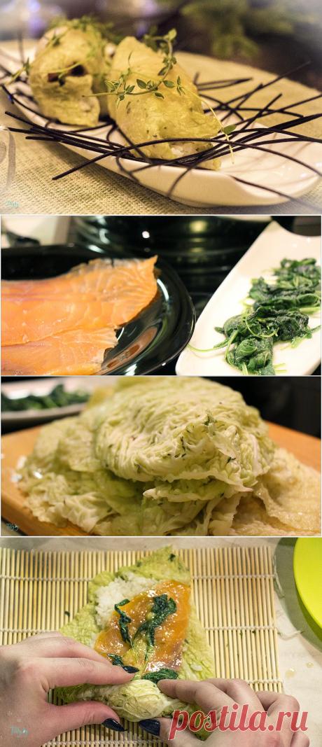 Роллы «Утонченный обед в Киото» из капусты с рыбой рецепт приготовления с фото