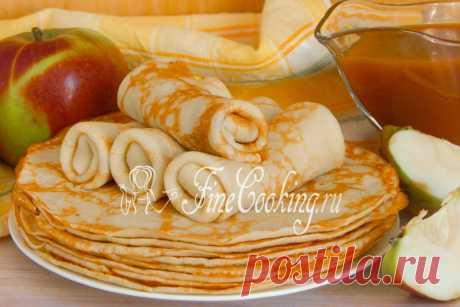 Яблочные блинчики Сегодня у нас рецепт тонких блинчиков на молоке, но не простых, а яблочных! Вовсе не с фруктовой начинкой, как ожидают многие – измельченные свежие яблоки мы будем добавлять прямо в тесто.