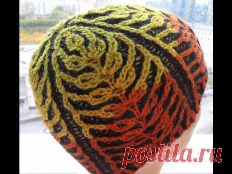 """Шапка""""Бриошь""""  из Кауни узор-""""пшеница""""(knitting hat Brioche)"""