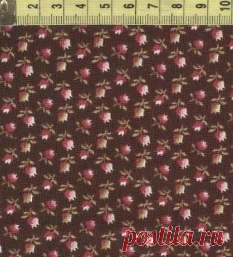 W 32044-9 Мелкие тюльпанчики на корич.ф.