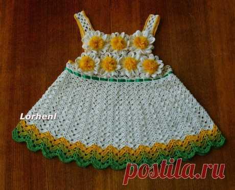 Летнее платьице — «ромашка» и шляпка для девочки, связанные крючком