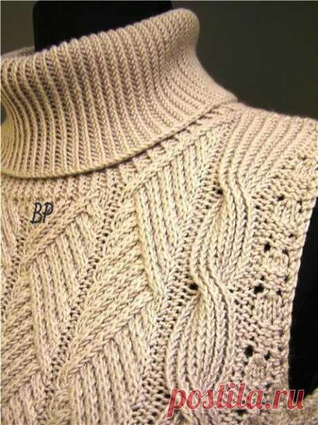 Шикарный пуловер или безрукавка , красивый узор из категории Интересные идеи – Вязаные идеи, идеи для вязания