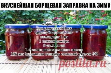 Очень удобно зимой — баночку маленькую открыл — и борщик за полчаса готов! Можно без мяса, можно на бульоне, можно на тушенке — вообще минутное дело!  Ингредиенты:  свекла 3 кг морковь 1 кг лук репчатый 1 кг перец сладкий 1 кг помидоры 1 кг 1 стакан сахара 3 ст.л. соли 1 стакан растительного масла 125 мл (половина тонкого стакана) уксуса 9%— выход: около 12 банок по 0,5л!  Приготовление:1. Все овощи помыть, почистить, далее слоями уложить в таз в следующей последовательнос...