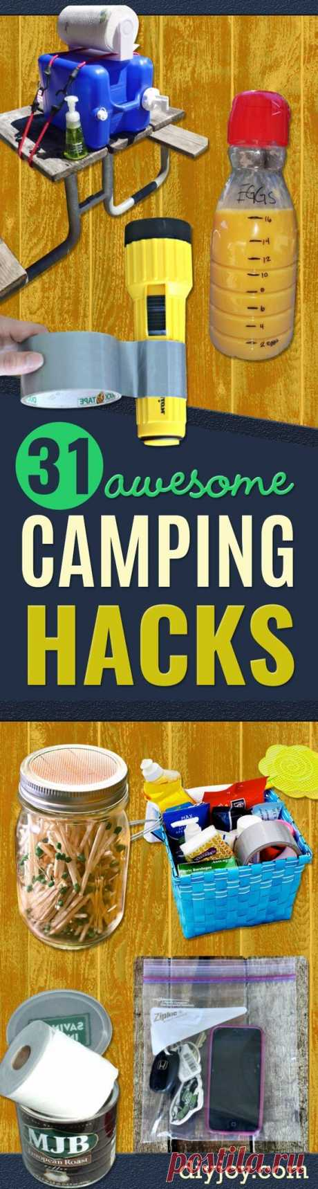 DIY Camping Hacks - Easy Tips and Tricks, Recipes for Camping - Gear Ideas, Cheap Camping Supplies, Tutorials for Making Quick Camping Food, Fire Starters, Gear Holders and More http:\/\/diyjoy.com\/diy-camping-hacks