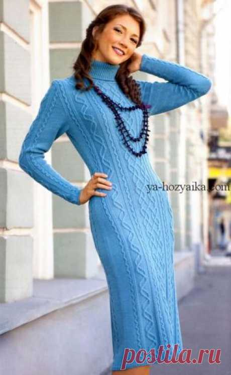 Платье спицами с высоким воротником. Связать теплое платье спицами схемы
