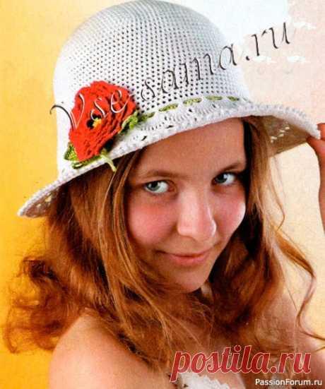 Белая шляпка с красным цветком Размер: обхват головы - 50-52 смВам потребуется: пряжа СоСо (100% мерсеризованный хлопок, 50 г/240 м) - 70-100 г белого цвета,остатки желтой, черной и красной пряжи для цветка,крючок №1,25,толстая леска (для полей).Описание вязания шляпкиНаберите цепочку из 6 возд. п. и замкните ее в...