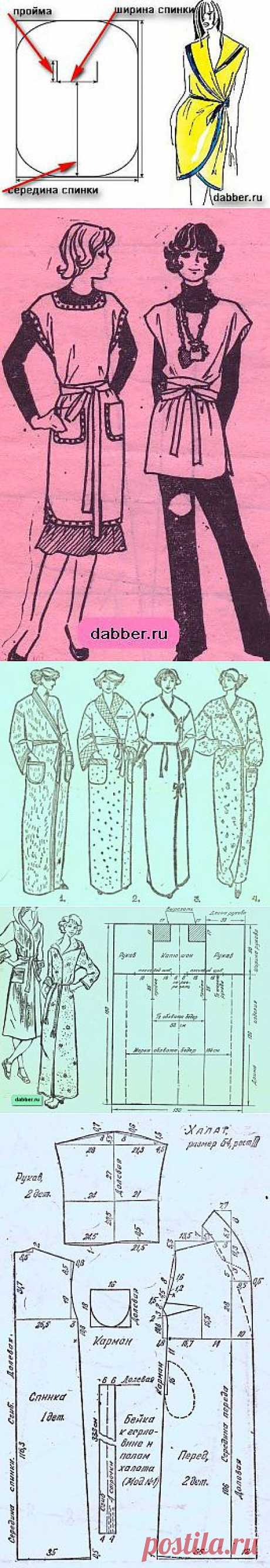 Patterns of women's dressing gowns\u000d\u000aSelection of simple patterns of dressing women's gowns with which sewing even the beginning seamstress can cope.