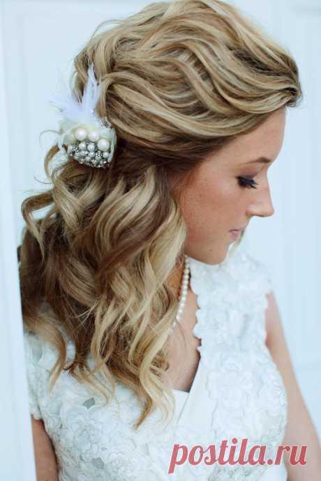 Свадебные прически на средние волосы (52 фото)
