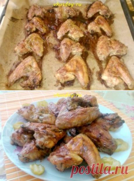 Крылышки запеченные в духовке с чесноком и майонезом - Вкусный день   Вкусный день