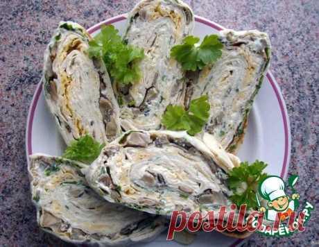 Праздничный рулет из лаваша с грибами – кулинарный рецепт