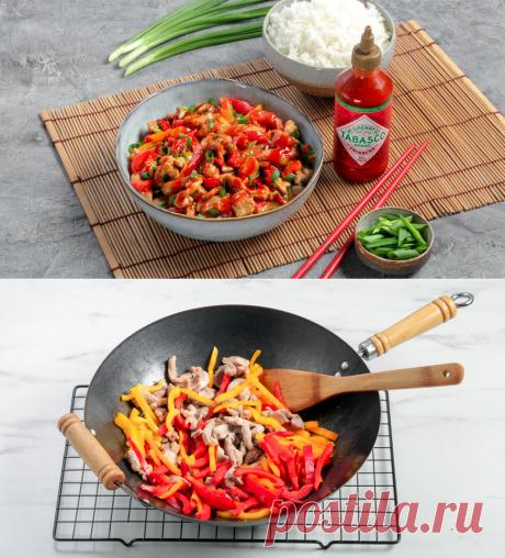Индейка с овощами и соусом Шрирача в воке по-азиатски, пошаговый рецепт с фото