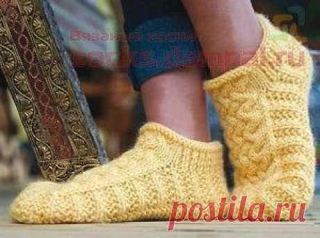 Носки-тапочки «Мокасины» (Вязание спицами)   Журнал Вдохновение Рукодельницы