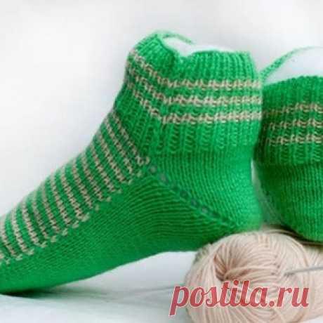 Очень теплые и красивые женские носочки на двух спицах. Мастер-класс - МирТесен
