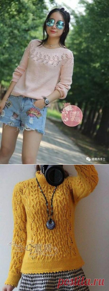 Свитер спицами. Японо-китайские модели | Модное вязание | Яндекс Дзен