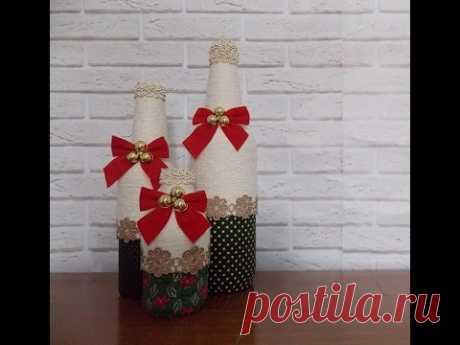 DIY Garrafas Decoradas Natal