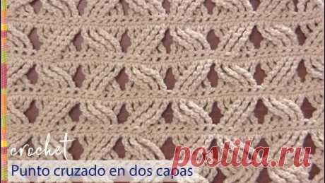 Punto cruzado en 2 capas tejido a crochet / Tejiendo Perú Un bello punto reversible, calado y rápido de tejer... ¡usamos varetas quíntuples! 🤩🙃 Suscríbete a nuestro canal aquí: https://goo.gl/SUC5Q8 Visita nuestra p...