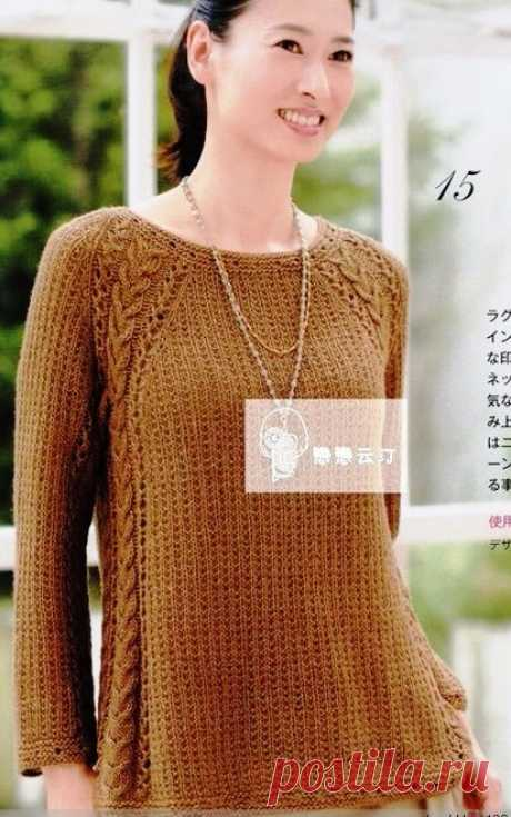 Пуловер с красивым регланом