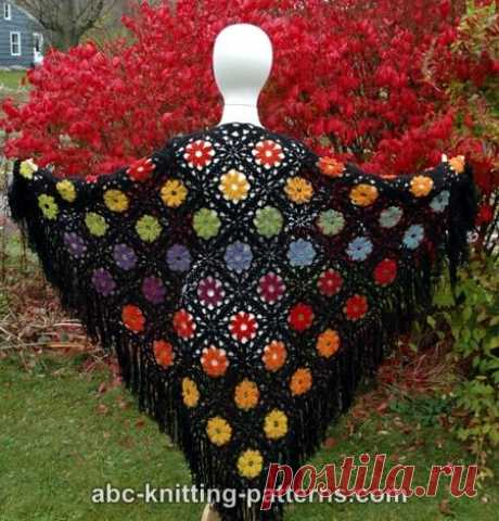 ABC Knitting Patterns - Rainbow Flowers Motif Shawl
