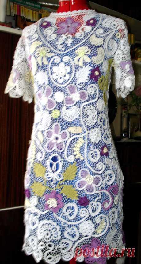 Comprar el vestido el encaje irlandés, la dimensión de 42-44- 17000 rbl. 100 % el algodón, el hilado delgado importado, la labor de punto por el gancho, el vestido de autor de L.N.Mitrofanovoy.